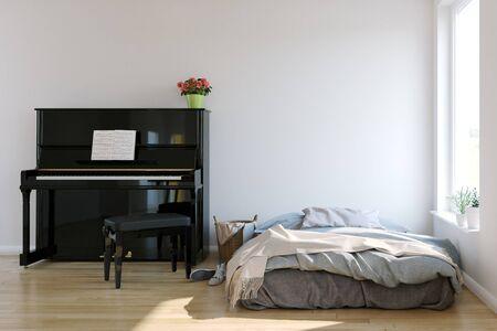 piano room interior in scandinavian style. Mock-up interior. 3d Illustration. Stock Photo