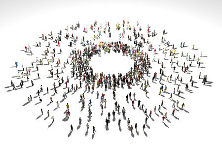 People gather at the center of the circle. Enthusiastic People. Organization.