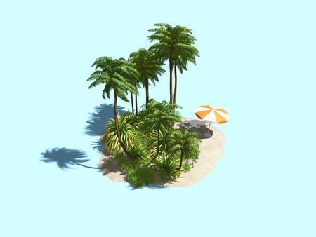 private island in the ocean. 3D illustration