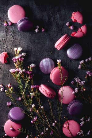 macarons: Pink and Purple Macarons Stock Photo