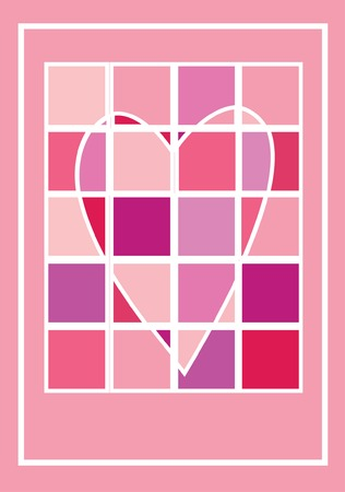 raspberry pink: A valentine greeting card - a heart of squares in pink shades