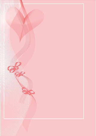 A pink valentine card with a heart, ribbons and bows