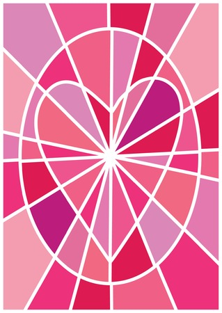 A greeting valentine card - a mosaic heart in an oval on mosaic background in pink shades Vector