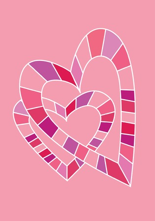 bigger: Two mosaic hearts - a bigger and a smaller one - in solid pink background Illustration