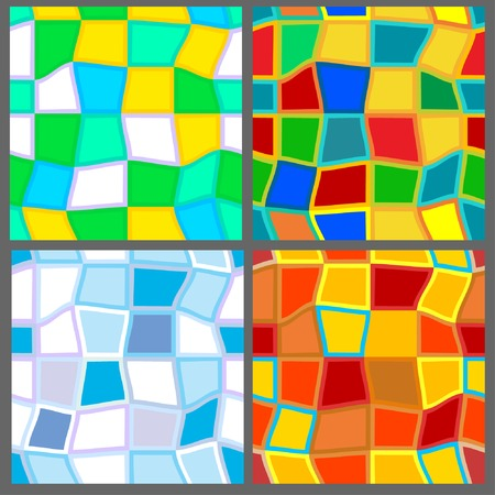 Four seamless mosaic patterns in the colors of the seasons Vector