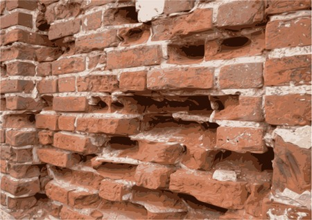 Close-up of an age-old brick wall with dents