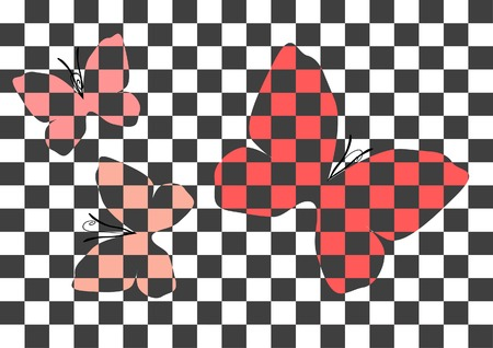 anther: Three abstract checked butterflies in black and red colors on the checked balck-and-white background