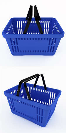 shopping baskets: Blue shopping baskets with clipping paths Stock Photo
