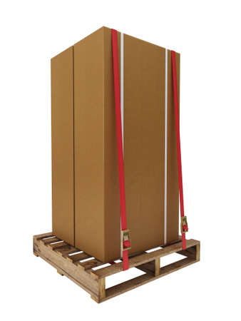 ratchet: Box on pallet with ratchet straps