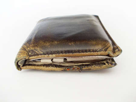 personal finance: Leather wallet indicating personal finance Stock Photo