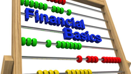 commercial activity: Financial basics on preschool counting frame Stock Photo
