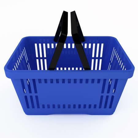 basket: Empty blue shpping basket Stock Photo
