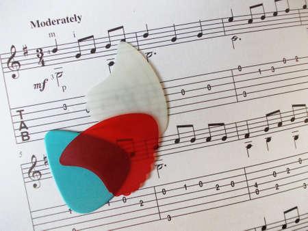 picks: Guitar picks on music page