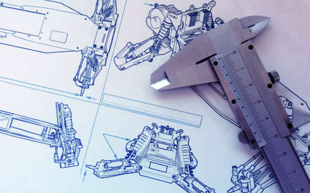 product design: Steel vernier on technical drawing Stock Photo