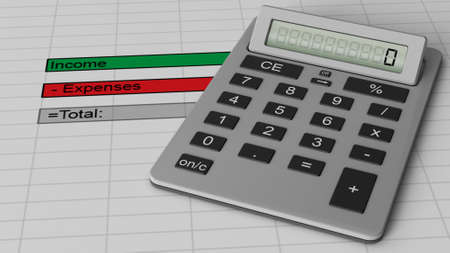 budgets: Finance budget document with calculator Stock Photo