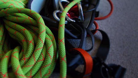 atc: rock climbing equipment with rope and harness