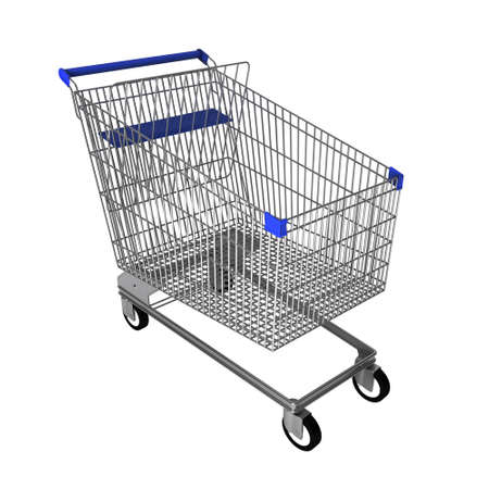 shopping trolley: Steel shopping trolley wiith blue handle