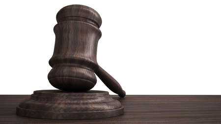order chaos: wooden gavel courtroom or auction hammer