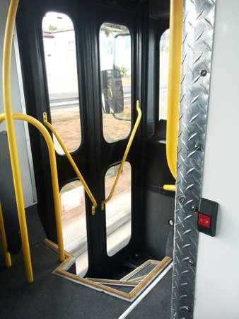 buss: public transport door well on buss Stock Photo