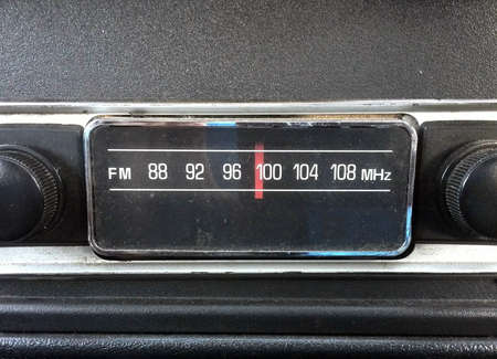 tuner: oldschool car radio with tuner Stock Photo