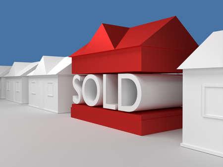 home ownership: House withe the word sold showing home ownership Stock Photo
