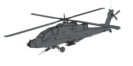 apache: Apache helicopter grey render schematic Stock Photo