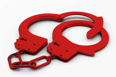 restraints: red handcuffs shows the fight against crime