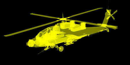 apache: futuristic blueprint view of Apache helicopter
