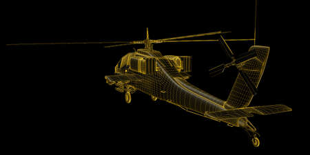 military helicopter: 3D futuristic view of military helicopter