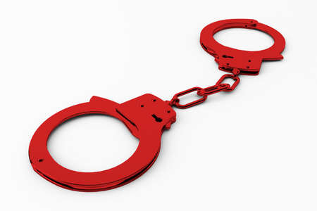 restraints: red handcuffs shows a clamp on crime