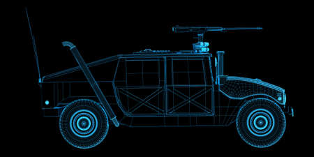wire frame: X-ray wire frame render of game humvee