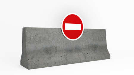 access restricted: jersey barrier with no access sign