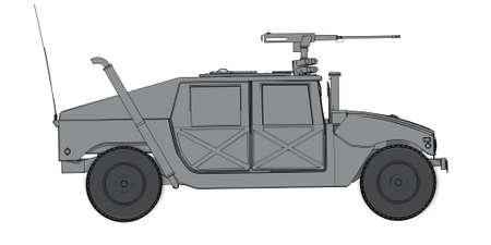 render: gray humvee 3D render Stock Photo