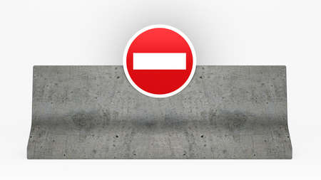 no access: road block jersey barrier or concrete barrier with no access