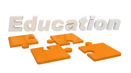 higher learning: Puzzle pieces showing the word education for higher learning