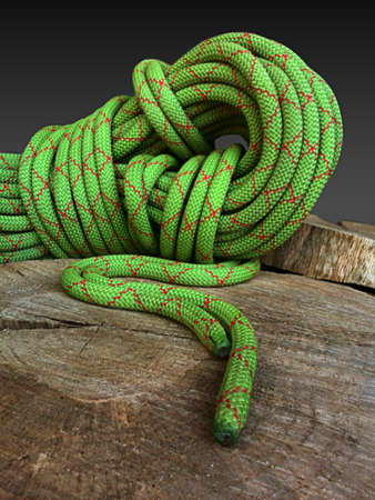 green climbing rope coiled on brown tree stump