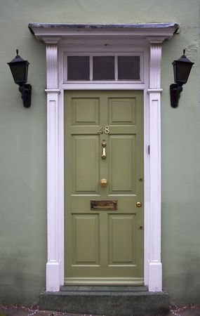 Green front door - the picture was taken in London. Stock Photo