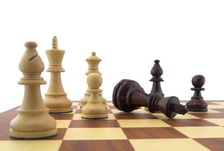 Chess pieces - fallen black king Stock Photo - 885596