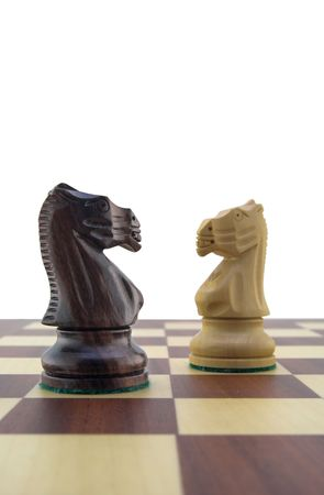 Chess pieces - white and black knight Stock Photo - 888383