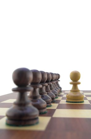 Chess pieces - white pawn facing a row of black pawns Stock Photo - 888385
