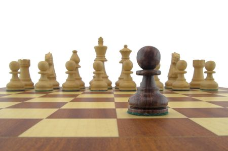 Chess pieces - black pawn looking down the chessboard Stock Photo - 888386