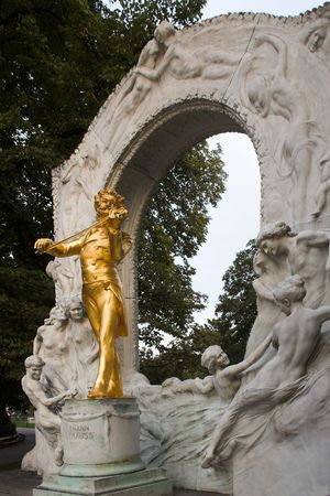A picture of the Johann Strauss monument in Vienna, Austria.