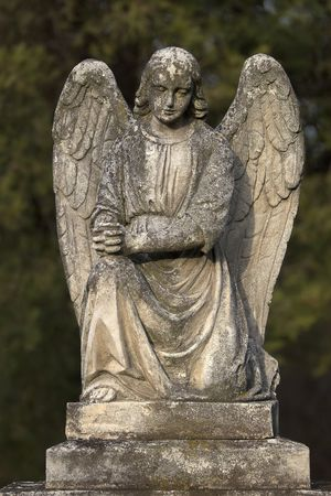 gravestone: Picture of a stone angel on a grave stone. A clipping path is included to extract the statue from the background.