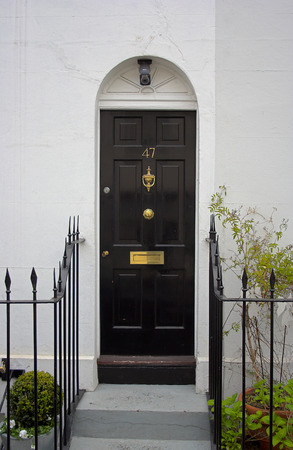 Black front door - the picture was taken in London.