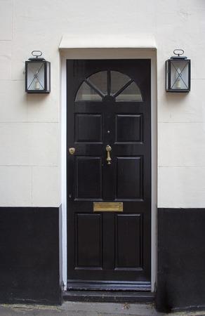 doorstep: Black front door - the picture was taken in London.