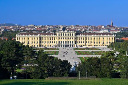 View of Schloss Schoenbrunn in Vienna, Austria