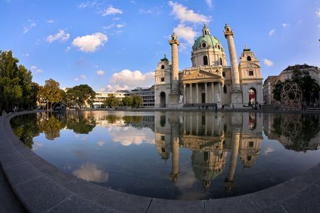 Photo of St. Charles Cathedral (Karlskirche) in Vienna, Austria.