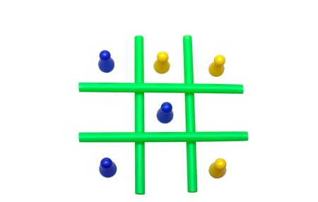 Photo of a Tic Tac Toe game in progress. The objects are isolated over white. Stock Photo - 2047488