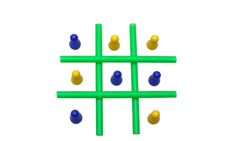 battling: Photo of a Tic Tac Toe game in progress. The objects are isolated over white.