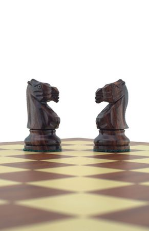 Chess pieces - two black knights